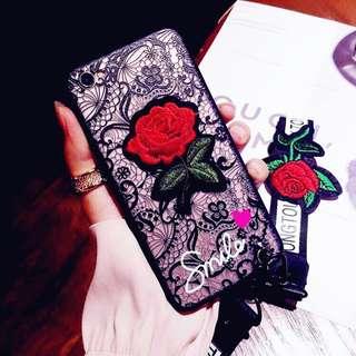 玫瑰刺繡蕾絲款手機殼 Apple蘋果6s/8plus