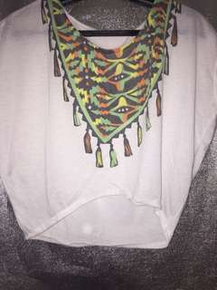 White Crop Top with Colorful Printed Design