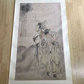 {Collectibles Item - Ancient Ink Painting} 清朝古画 Qing Dynasty Chinese Ancient Ink Painting On Paper On Scroll -【張何二仙圖】 軸画長72寸(172cm) 寛27 1/2寸(70cm) - 黄慎, 【1687年-1772年】,初名盛,字恭壽、恭懋,号癭瓢子,東海布衣等,福建寧化人,清代畫家。为揚州八怪之一。