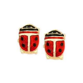 Cute lady bug earrings red