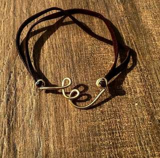 Initial Wire & Leather Bracelet
