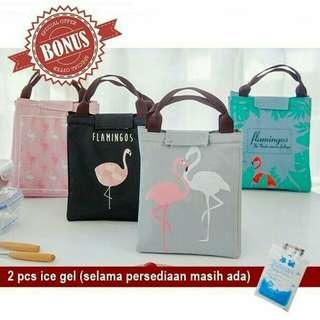 Flamingo Lunch Bag / Cooler Bag / Tas Makanan Motif Flamingo