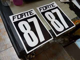 Car side door number stickers.A4 size. One pair 18 dollars.