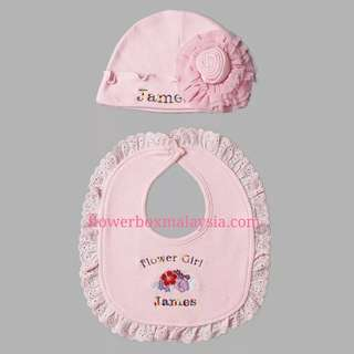 Personalised bib and hat for baby