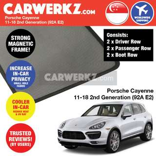 *QUALITY* Porsche Cayenne 2011-2018 2nd Generation (92A E2) Customised Car Window Magnetic Sunshades