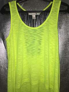 Neon Yellow Sleeveless Top with a Black Mesh at the back