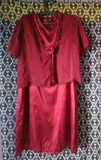 Dress wanita merah maroon