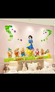 💟( 2 Designs. $10 Each ) Children's room bedroom girl cute cartoon wallpaper wall decoration snow white. Prince. seven princess romantic wall stickers Home decor ( Raw sticker size 90x60cm )