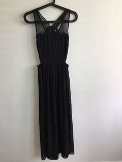 Black maxi dress with chiffon and cutout details