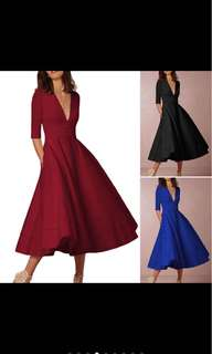 Deep Neck Elegant Dress
