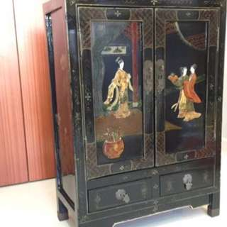 Oriental Vintage Hand-Painted Black Lacquer Hard Stone Cabinet   furniture bedroom living room