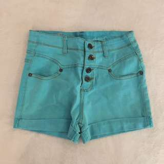 Blue Green High Waisted Shorts