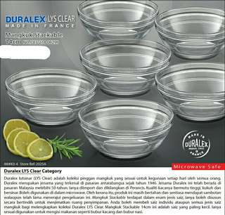 Duralex Lys Clear Mangkuk Stackable 14cm (6 biji)