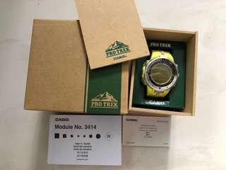 Casio Protrek PRW 3000 Yellow, tough solar powered watch boxset
