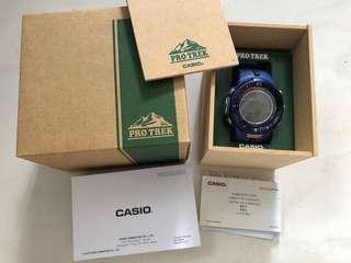 Casio Protrek PRW 3000 blue, tough solar powered sports watch boxset