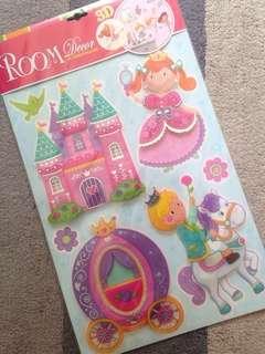 Princess 3D room decoration self-adhesive wallpaper