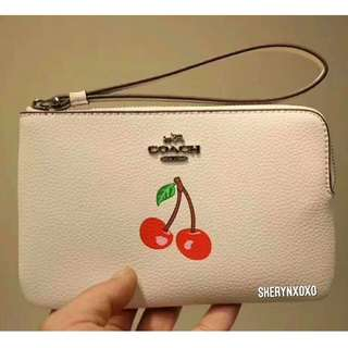 Coach Corner Zip Wristlet with Strawberry, Cherry or Rainbow