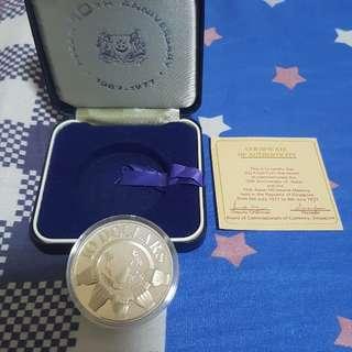 1977 SINGAPORE $10 SILVER PROIF COIN, ASEAN 10TH ANNIVERSARY