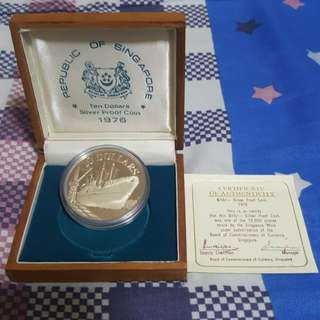 1976 SINGAPORE $10 SHIP SILVER PROOF COIN