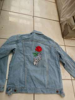 Denim Light Blue Jacket Skeleton Rose