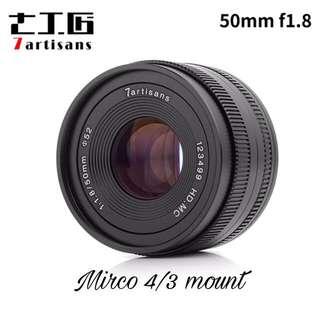 7artisans 50mm F1.8 Prime Portrait Lens for Olympus Panasonic Micro Four Thirds MFT M4/3 Mirrorless Cameras