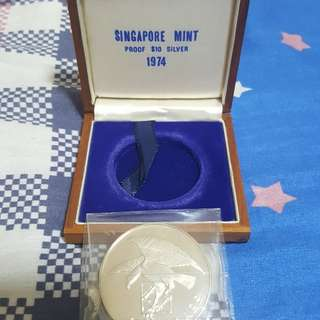 1974 SINGAPORE EAGLE $10 SILVER PROOF COIN, NO COA