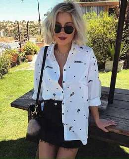White printed feather longsleeves polo