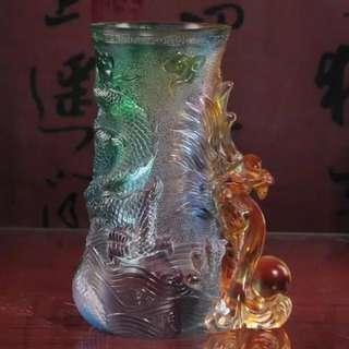 龙行天下花瓶琉璃
