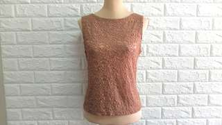 Brown lace sleeveless top