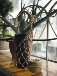 手工麻繩環保飲料提袋/掛繩/網袋