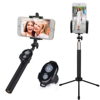 Instocks Brand New Selfie Essentials Set (Monopod Wireless Bluetooth Remote Clicker Tripod Stand) - Photo Taking Photography Camera Mobile Hand Phones HP apple Iphone samsung Galaxy oppo goggle ringlight