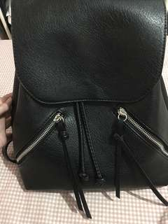 Stradivarius Black Leather Back Pack