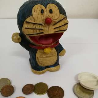 Wooden Doraemon Coin Bank