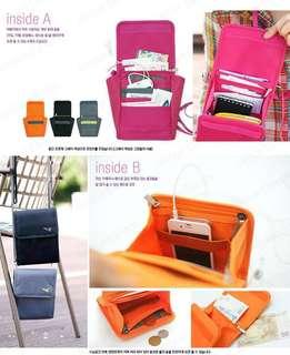 全新 韓國旅行證件袋 飛機錢包斜咩袋travel Wallet 粉紅色/橙色