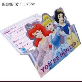 Disney Princess Birthday Invitation Cards