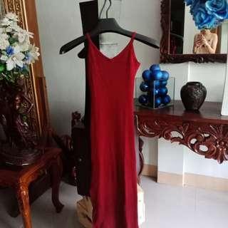 Long body con slit dress (wine)