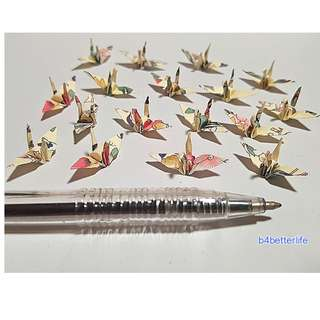"#FC1-43. Lot of 100pcs 1-inch Origami Cranes Hand-folded From 1""x1"" Square Paper. (JD paper series)."
