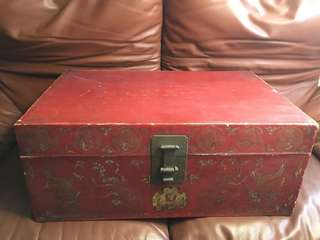 Antique chinese wedding leather chest truck c1800