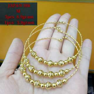 18K JAPAN GOLD BANGLES  1pc = 8,250  3pcs = 24,475
