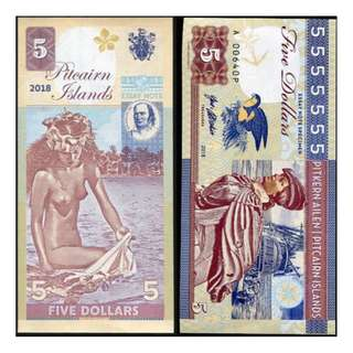 PITCAIRN ISLANDS 5 DOLLARS 2018 BEAUTIFUL GIRL IN SEA SOUTH PACIFIC