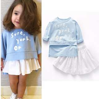 Kid Baby Girls Fashion Long Sleeve Shirt + Mini Skirt Outfit Set (Shirt + Skirt)