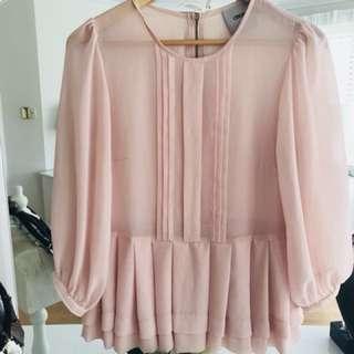 ASOS light pink peplum blouse size 12