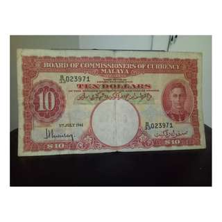 10dollar 1941 king george malaya notes