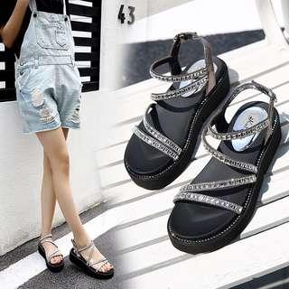 Size 35-40 Diamond Rhinestone Peep Toes Wedges Sandals