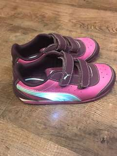 Purple Puma Rubber Shoes (green stripe lights up when baby stomps) - Size US10