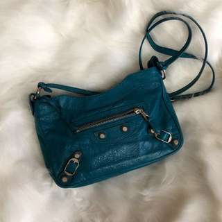 (Used) Balenciaga Blue Leather Cross Body Bag