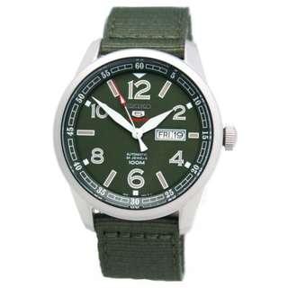 Seiko 5 Sports SRP621K1 Green Nylon Military Jam Tangan Pria SRP621