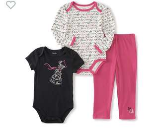 BN Calvin Klein Baby Girl 3 Piece Romper Pants Set 6-9mths & 12mths available!