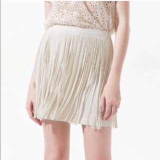 Zara Off White Fringe Skirt