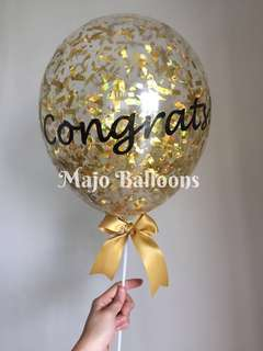 Customized confetti balloon on stick